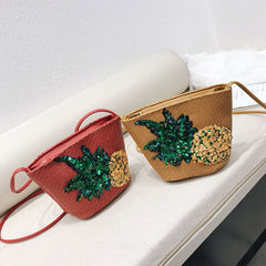 Sequins Pineapple Small Straw Bag Rattan Handbag