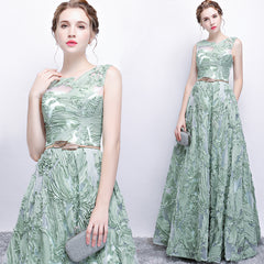New Fresh Green Lace Sleeveless Floor-length Formal Gown - Mint Colored Couture Gown - Beautiful Details