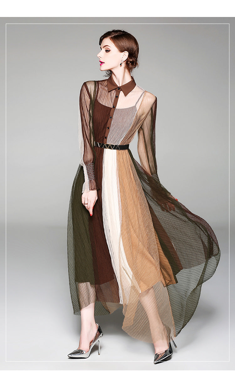 Shades of Brown Chiffon Maxi Dress Women