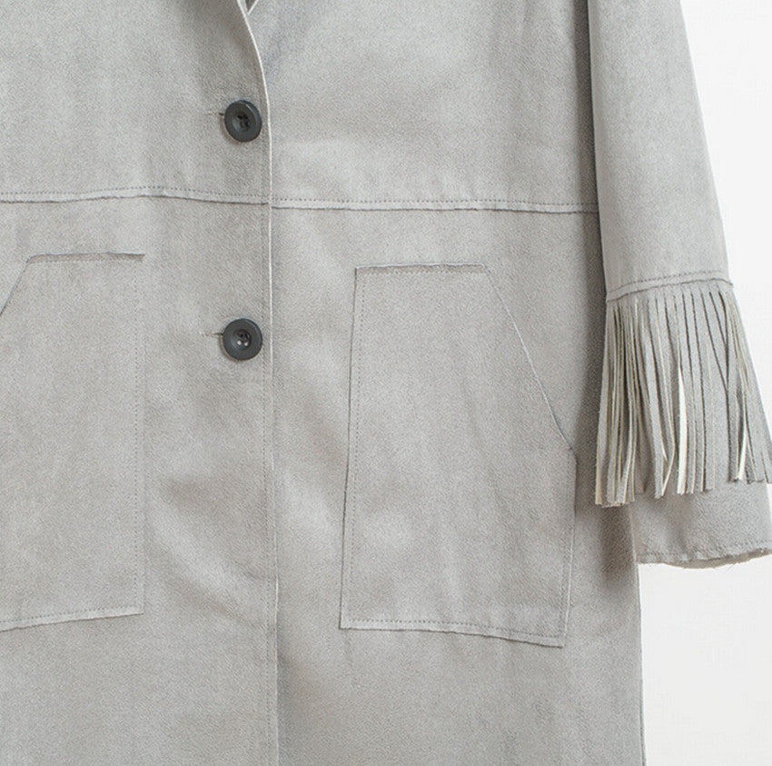 Vintage Faux Suede Tassel Fringed Trench Coat
