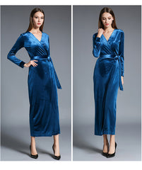 Velvet Wrap Dress - Woman's Wrap Dress - Blue/Maroon - Use code MINE to make it $50 or less!
