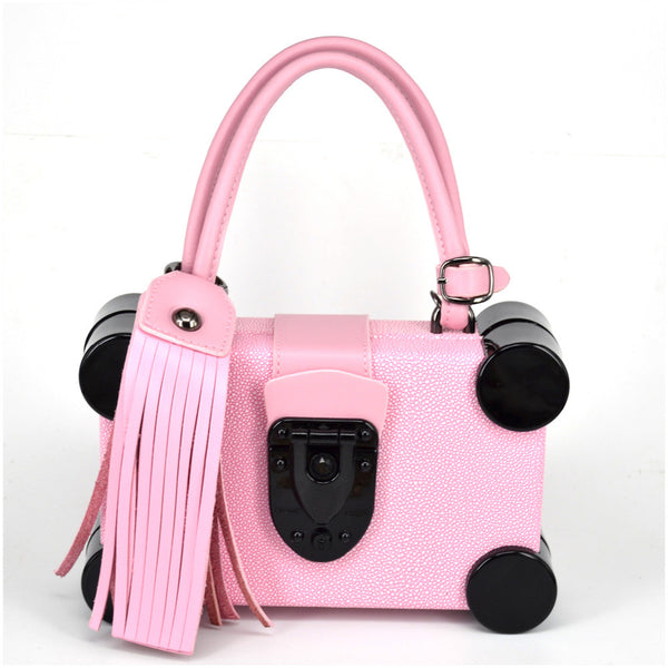 Geometric Handbag - Black with Pink