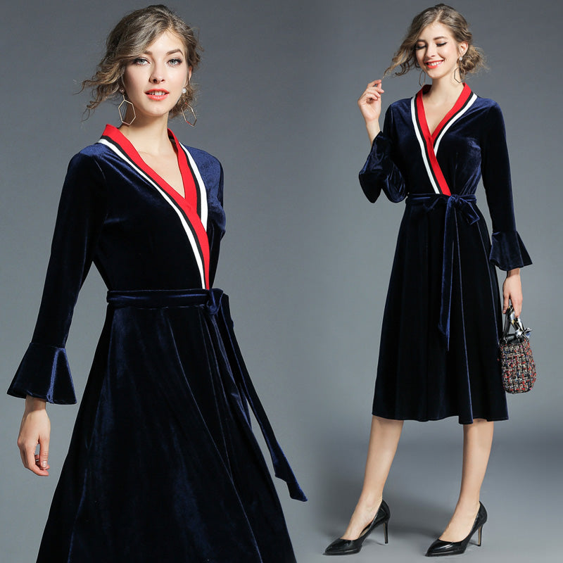 Midi All American Velvet Dress - Navy Blue, Red and White Stripes