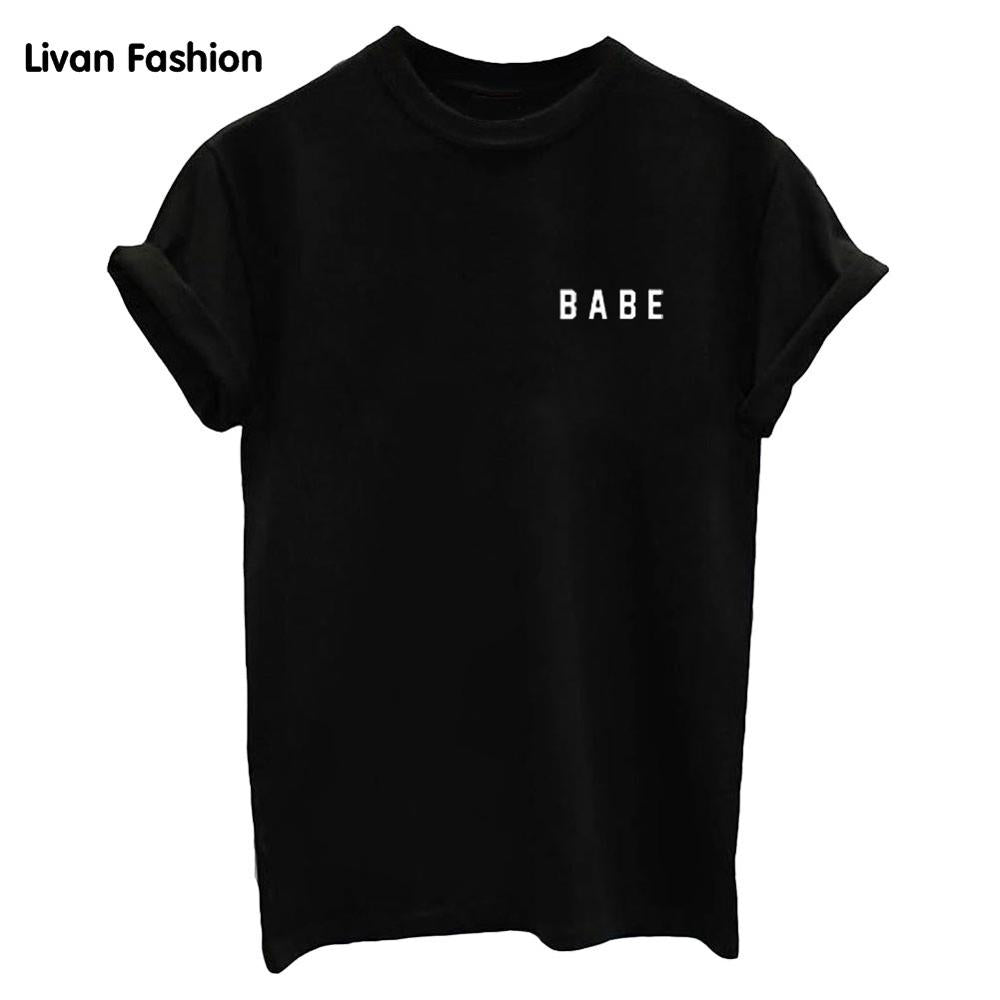O Neck BABE Graphic T Shirt - BABE Graphic T Shirt