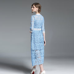 Too Chic Baby Blue Lace Dress
