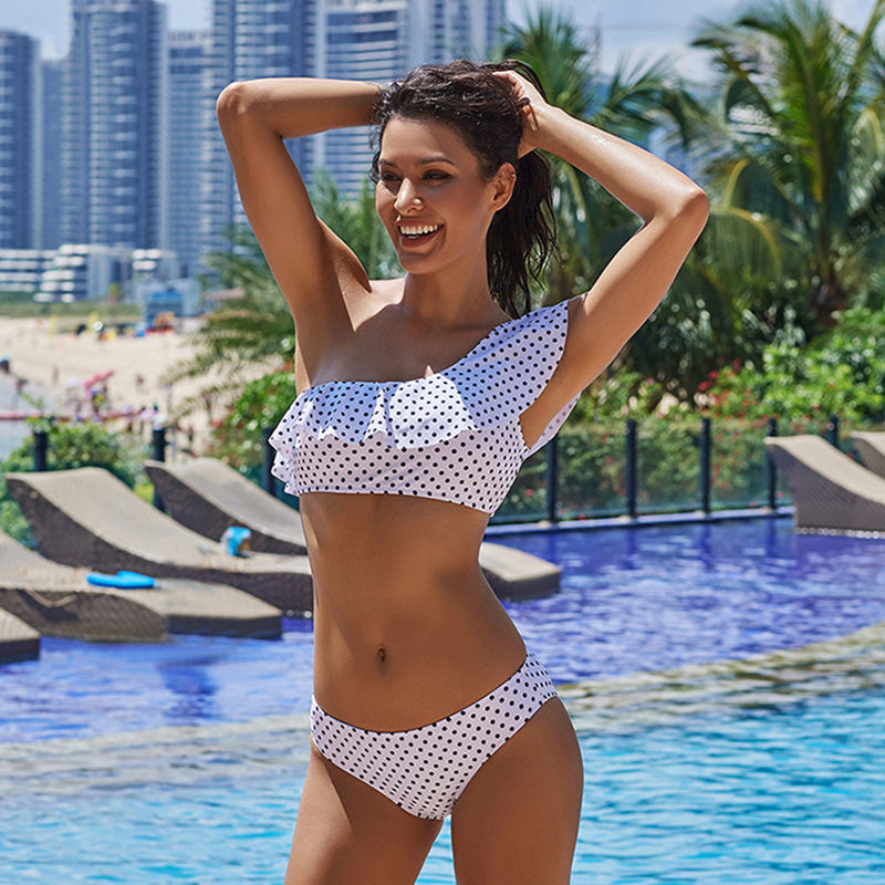 Polka Dot Ruffled One Shoulder Bikini Set - Top and Bottom Included