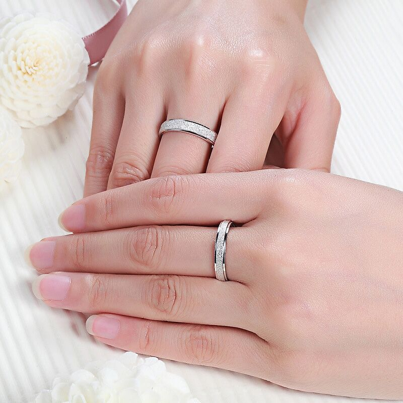 Silver Frosted Couple Wedding Rings - Stainless Steel Silver Glitter Delicate Wedding Bands