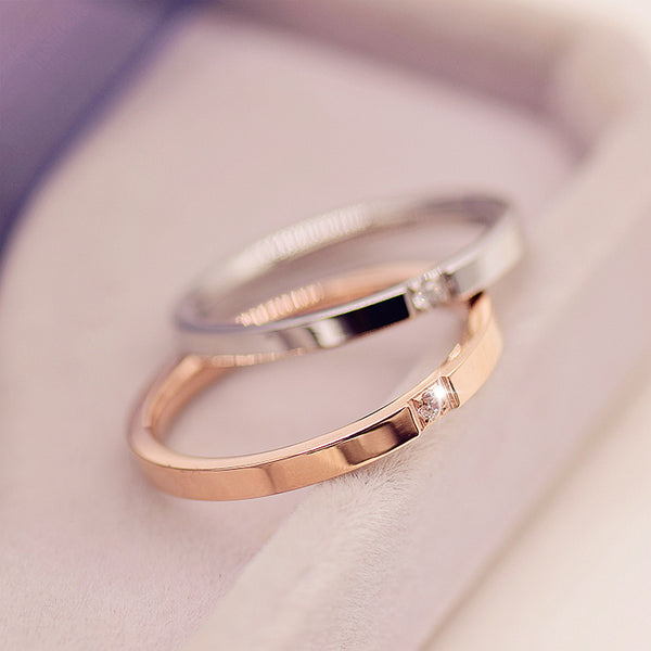 Stainless Steel Rose Gold Wedding Band - Stainless Steel Gold with diamond wedding band - Choose your steel color