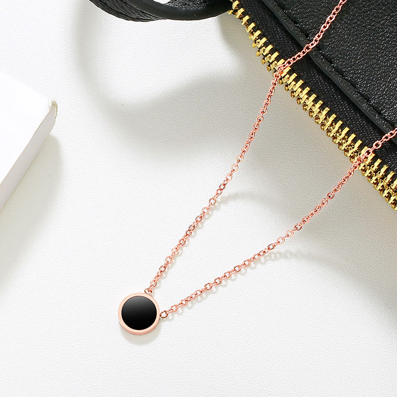Inspirational Fashion Brand Rose Gold Simple Black Round Pendant Necklace - Womans Stainless Steel Pendant Necklace