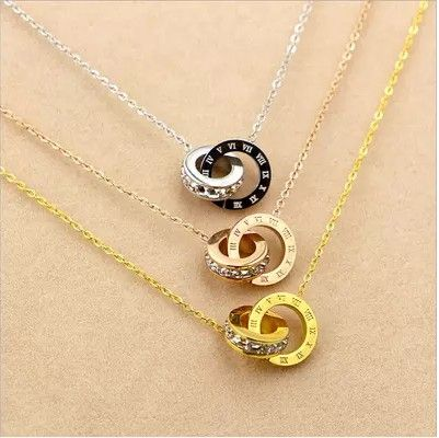 Stianless Steel Roman Numerals Pendant Necklace - 3 Color Options - Delicate Roman Numerals Gold Pendant Necklace