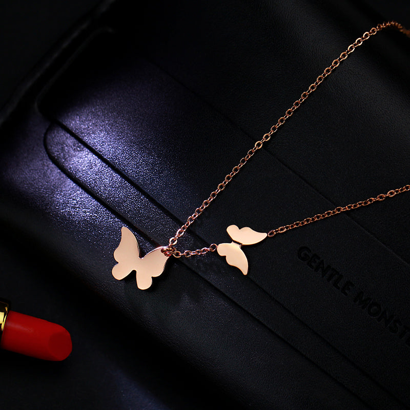 Stainless Steel Rose Gold Butterfly Necklace - Delicate Butterfly Necklace - Stainless Steel Jewelry