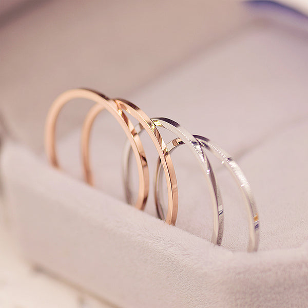 Stainless Steel Super Thin Ring - Unisex Stainless Steel Wedding Band - Rose Gold or Silver Thin Wedding Band