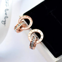 Stainless Steel Stud Earrings - Roman Hoop Earrings - Gold, Rose Gold or Silver