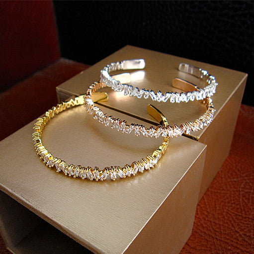 Baguette Bangle, Platinum Plated - 18K Gold, Platinum or Rose Gold Plating with Swarovski Cut Stones