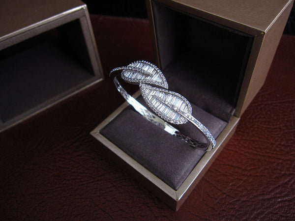 Baguette Bangle - Leaf, Platinum Plated with Swarovski Cut Stones - 18K Gold, Platinum or Rose Gold