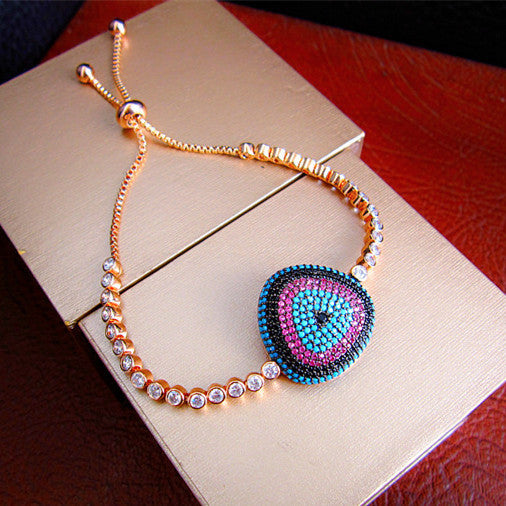 Geometric Bracelet - Rose Gold Plated, Swarovski Cut Stones