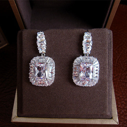 Baguette Drop Earrings - Platinum Plated with Swarovski Cut Stones