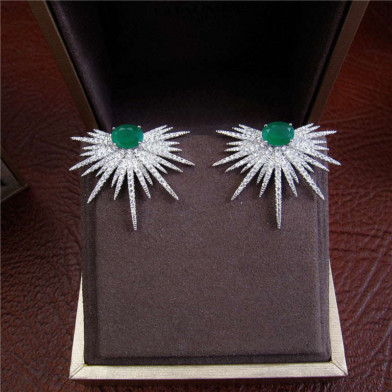 Emerald Spike - Platinum Plated with Clear Swarovski Cut Stones