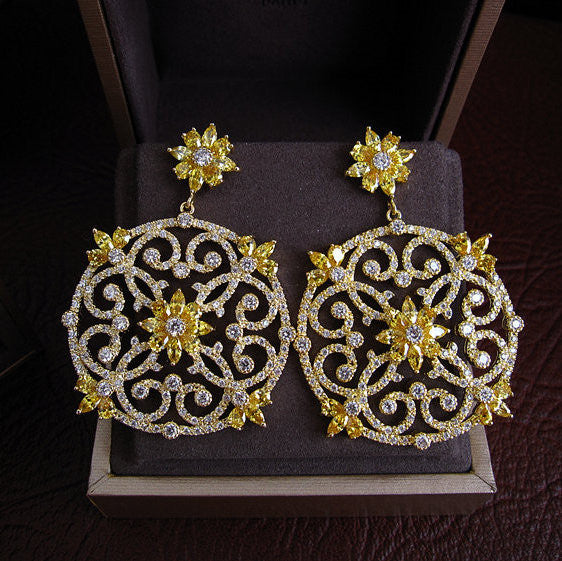 Yellow Gold - 18K Gold Plated Yellow and Clear Stones Earrings