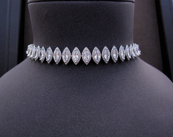 Marquise Choker - Platinum Plated with Swarovski Cut Stones