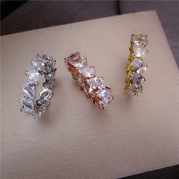 Pear Shaped Tennis Ring - Gold, Rose Gold or Silver - Platinum or 18K Gold Plating