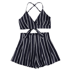 Tie Up, Knot Top Criss Cross Back - Sailor Stripe - Shorts and Top Set