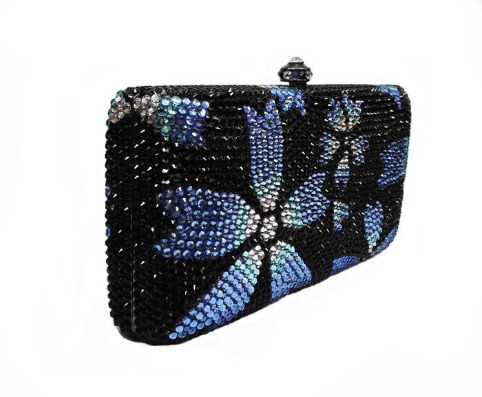 Luxury Crystal Handbag - Black w/ Mirina Blue