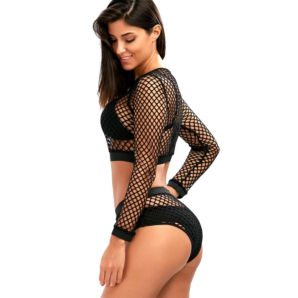 Hollow Out Black Mesh 2 PCS Set - Lingerie Set - See Through - Transparent - Black Lace