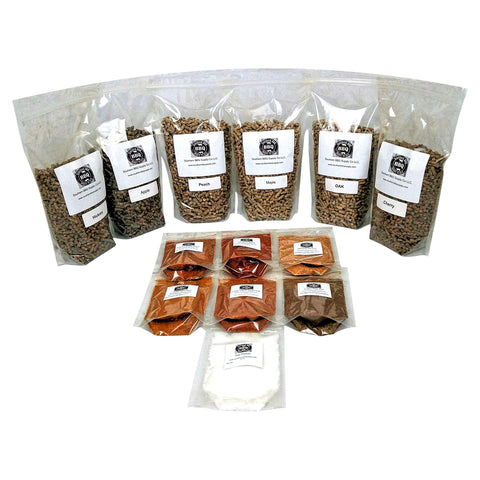 BBQ Variety pack 12 lbs BBQ pellets and 6 BBQ rubs