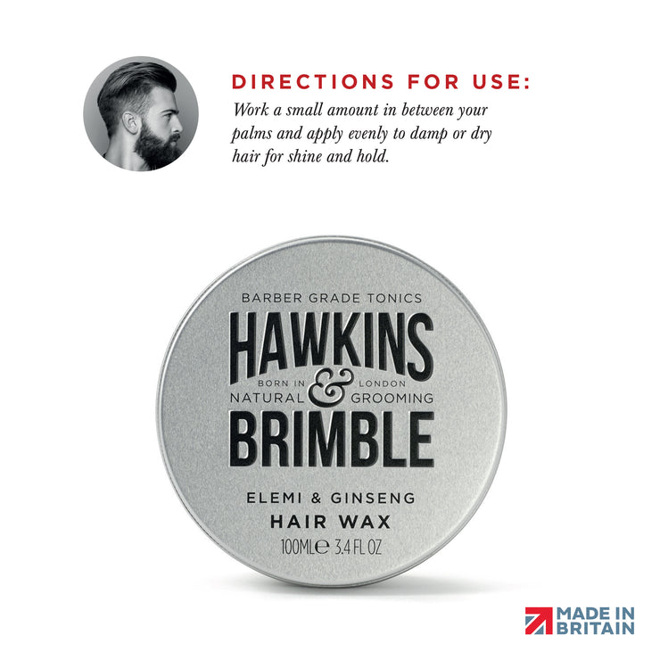 Molding Hair Wax (Light to Medium Hold) 100ml - Hair Care - Hawkins & Brimble Barbershop Male Grooming Products for Beards and Hair