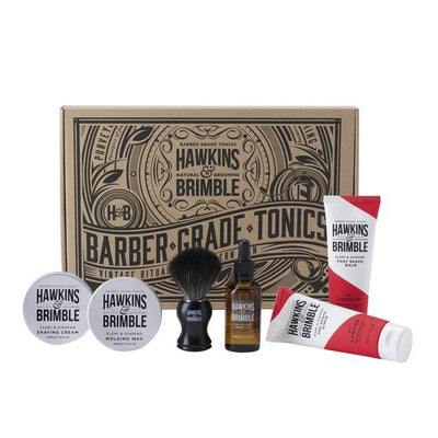 Gift Set -  - Hawkins & Brimble Barbershop Male Grooming Products for Beards and Hair
