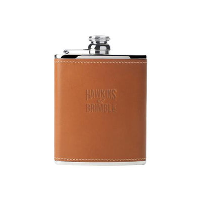 Tan Leather 6oz Hip Flask -  - Hawkins & Brimble Barbershop Male Grooming Products for Beards and Hair