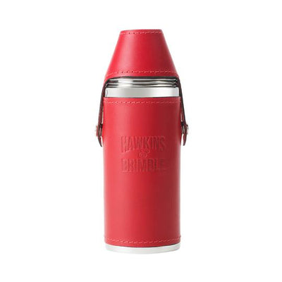 Red Leather 8oz Hunter Flask -  - Hawkins & Brimble Barbershop Male Grooming Products for Beards and Hair