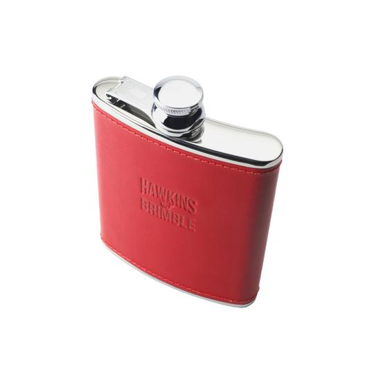 Red Leather 6oz Hip Flask -  - Hawkins & Brimble Barbershop Male Grooming Products for Beards and Hair
