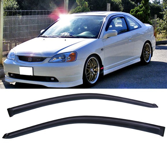 Window Visor Deflector Rain Guard 2001-2005 Honda Civic Coupe 2Door Dark Smoke 2 pcs /set
