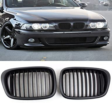 1997-2003 BMW 5 Series E39 Kidney Grill Grille Matte Black/ Pair