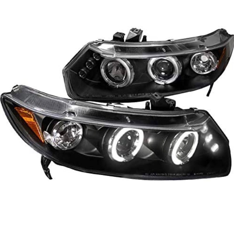 Headlight Housing Kit Projector Halo Led 2006-2011 Honda Civic Coupe 2dr