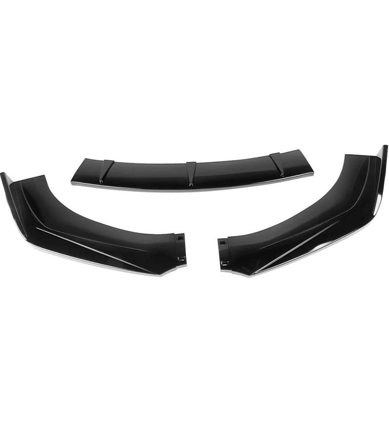"Universal 3-PC Front Bumper Lip (Glossy Black) Not adjustable one , width 68.9"" ( not fit front bumper width more than 68.9"")"