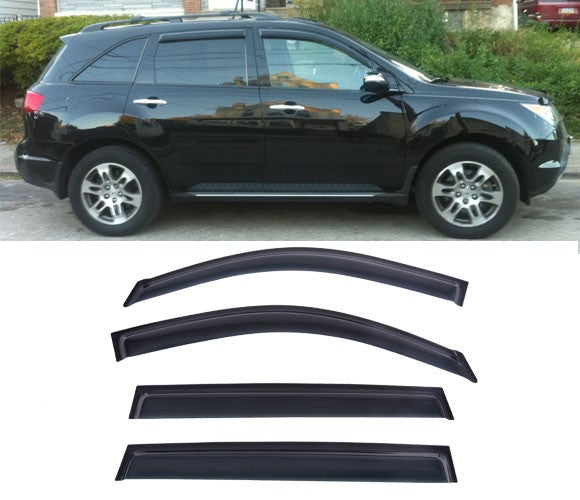 Window Visor Deflector Rain Guard 2007-2013 Acura MDX Dark Smoke