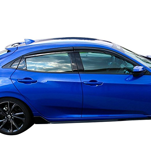 Window Visor Deflector Rain Guard 2016-2020 Honda Civic Hatchback 5dr Mugen Style Dark Smoke Colour