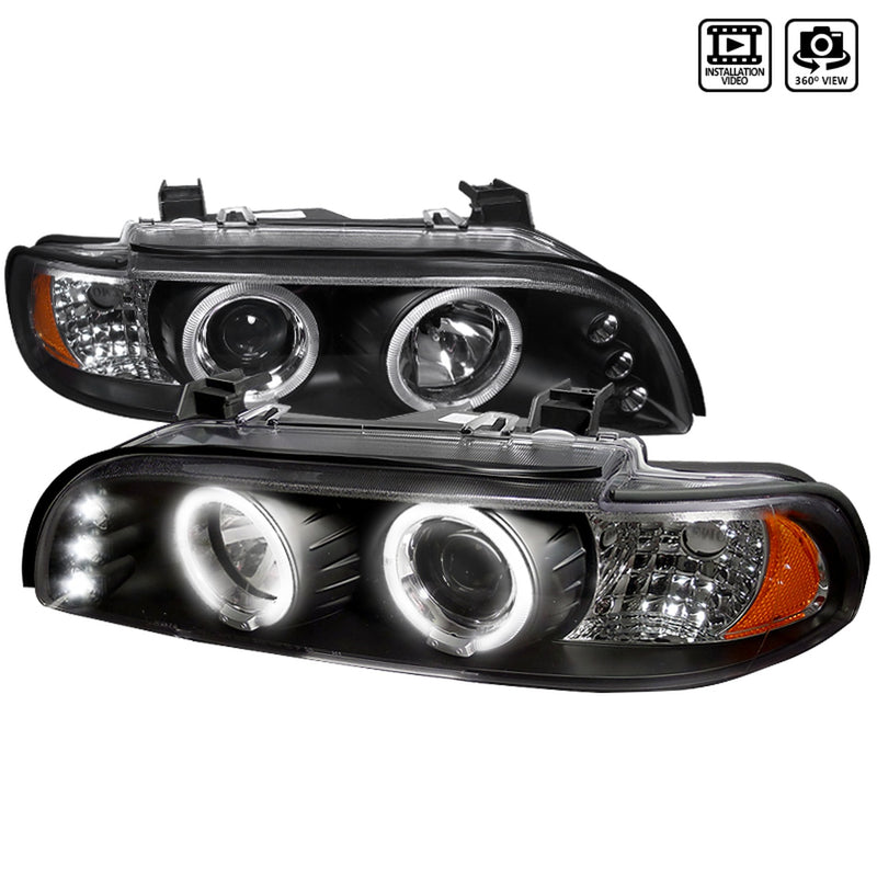 1997-2003 BMW E39 5 Series Projector Headlights (Matte Black Housing/Clear Lens)