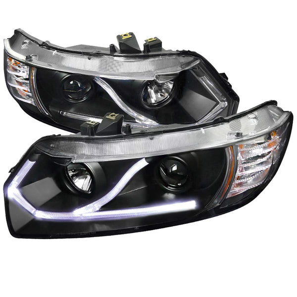 Headlight Housing Kit Projector Led Black 2006-2011 Honda Civic Coupe 2dr