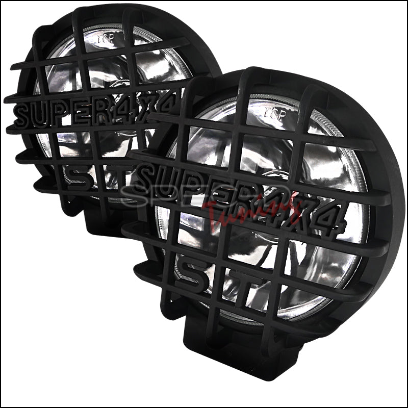 2PC ROUND WORK LAMP WITH SUPER 4X4 MESH GUARD BLK