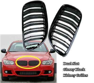 2010-2013 BMW 3 Series Coupe Convertible E92 E93 M3 Kidney Grill Grille Double Slat Glossy Black/ Pair