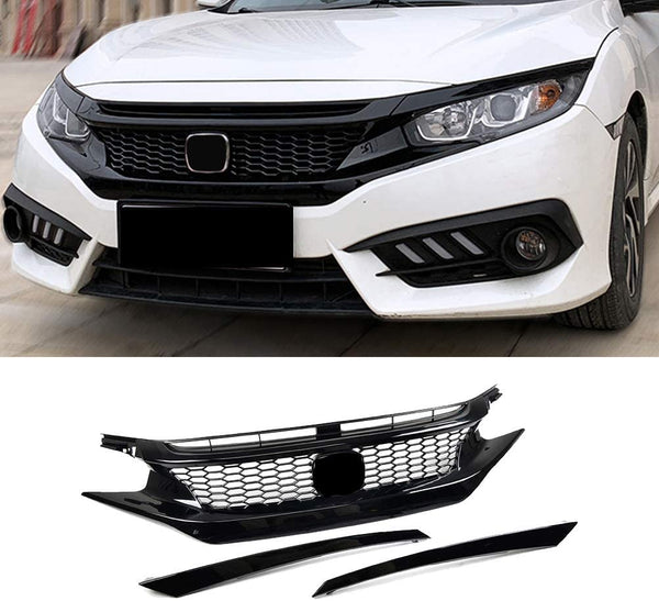 2016-2018 Honda Civic Coupe/ Sedan front Grill and eye lids CTR Style Glossy Black/ Set