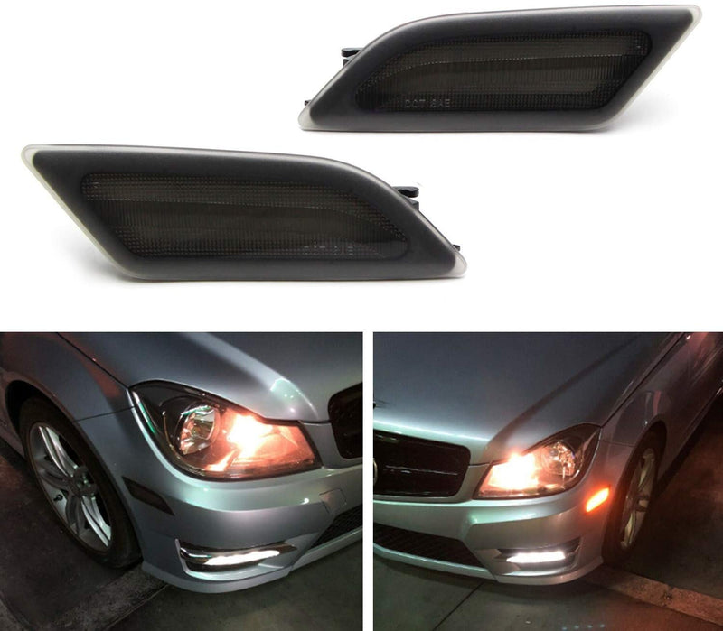 LED Smoke Lens Amber LED to replace Front Side Marker Light Kit Fit 2012-14 Mercedes C-class W204 LCI C250 C300 C350 Sedan/Coupe, Powered by SMD LED, Replace OEM Sidemarker Lamps