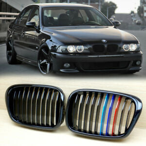 1997-2003 BMW 5 Series E39 Kidney Grill Grille Glossy Black with M colour/ Pair
