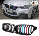 2012-2019 BMW 3 Series F30 Sedan Kidney Grill Grille Glossy Black with M colour/ Pair