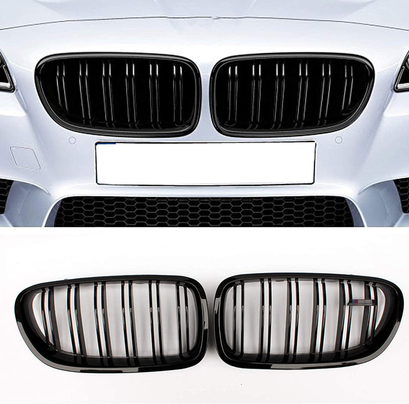 2011-2016 BMW 5 Series F10 Kidney Grill Grille Double Slat Glossy Black/ Pair