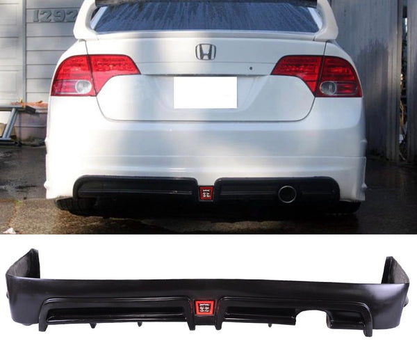 2006-2011 Honda Civic 4door Sedan Mugen RR style Rear Bumper Lip with LED Brake light